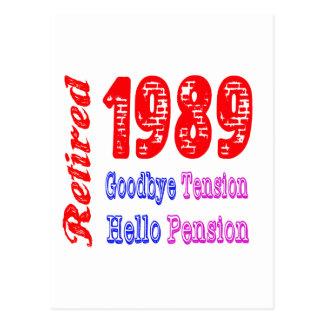 Retired 1989 Goodbye Tension Hello Pension Postcard