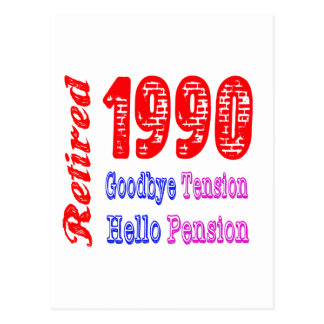 Retired 1990 Goodbye Tension Hello Pension Post Card