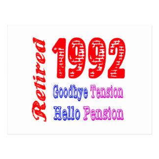 Retired 1992 Goodbye Tension Hello Pension Postcard