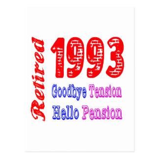 Retired 1993 Goodbye Tension Hello Pension Postcard