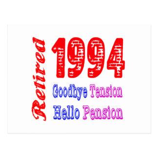 Retired 1994 Goodbye Tension Hello Pension Postcard