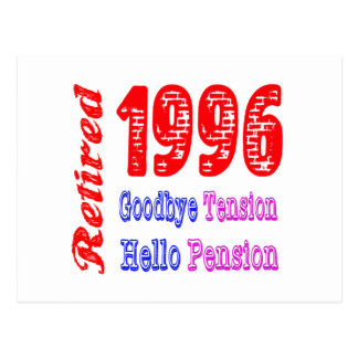Retired 1996 Goodbye Tension Hello Pension Post Cards