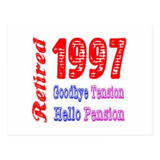 Retired 1997 Goodbye Tension Hello Pension Post Card