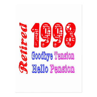 Retired 1998 Goodbye Tension Hello Pension Post Card