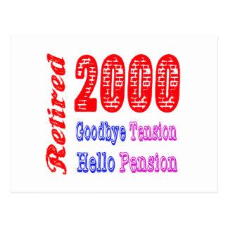 Retired 2000 Goodbye Tension Hello Pension Postcard