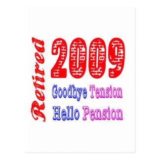 Retired 2009 Goodbye Tension Hello Pension Postcard