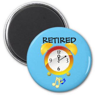 Retired Alarm Clock 6 Cm Round Magnet