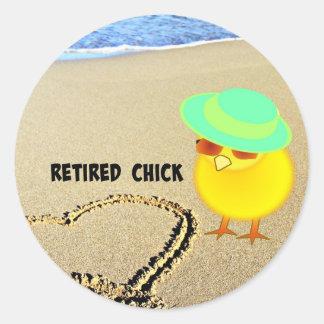Retired Chick at the Beach Round Sticker