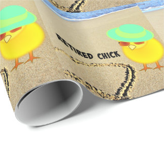 Retired Chick at the Beach Wrapping Paper