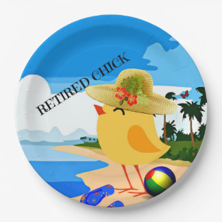 Retired Chick, colorful design Paper Plate