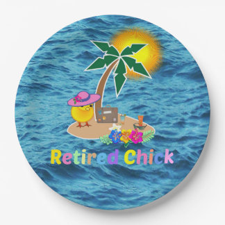Retired Chick, cute and colorful 9 Inch Paper Plate