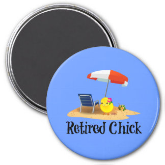 Retired Chick on the Beach 7.5 Cm Round Magnet