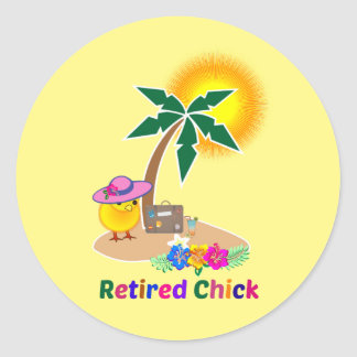 Retired Chick on Vacation Classic Round Sticker
