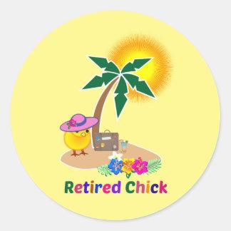 Retired Chick on Vacation Round Sticker