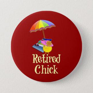 Retired Chick - White Text on Dark Background 7.5 Cm Round Badge