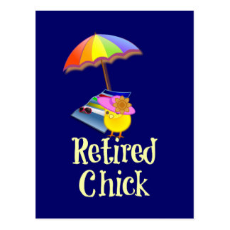 Retired Chick - White Text on Dark Background Post Cards