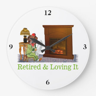 Retired Dog Lounging By The Fire Large Clock