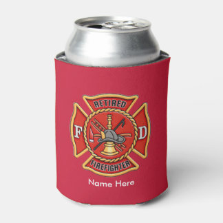 Retired Firefighter Maltese Cross Can Cooler