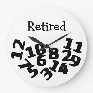 Retired Funny Fallen Numbers Large Clock