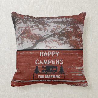 Retired Happy Campers RV | Rustic Red Barn Wood Cushion