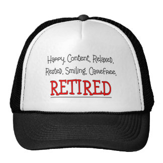 """""""RETIRED- Happy, Carefree, Relax""""...Funny Mesh Hats"""