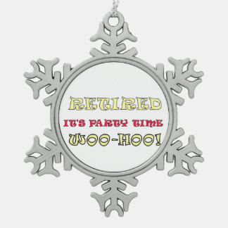 Retired It's Party Time Snowflake Pewter Christmas Ornament