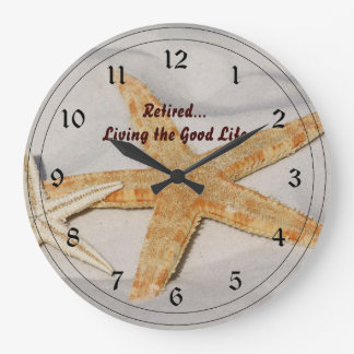 Retired...Living the Good Life Large Clock