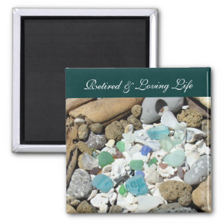Retired & Loving Life Ocean Beach magnets Seashell