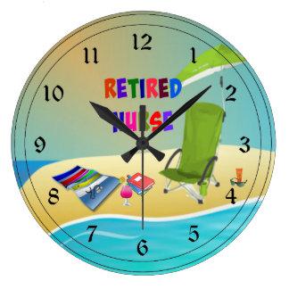 Retired Nurse, Fun in the Sun Large Clock
