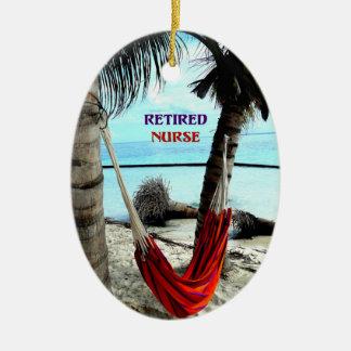 Retired Nurse - Hammock at the Beach Ceramic Ornament