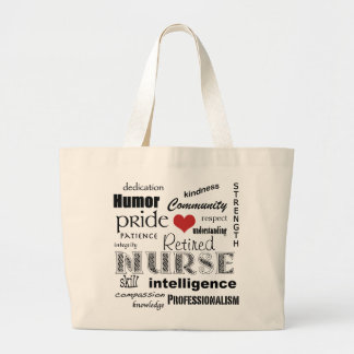 Retired Nurse Pride-Attributes+red heart Large Tote Bag