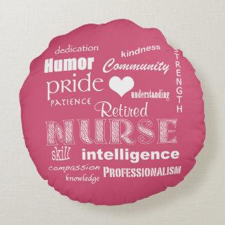 Retired Nurse Pride+Heart/Pink Round Cushion