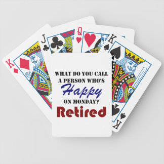 Retired On Monday Funny Retirement Retire Burn Bicycle Playing Cards