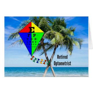 Retired Optometrist, Colorful Beach Design Card