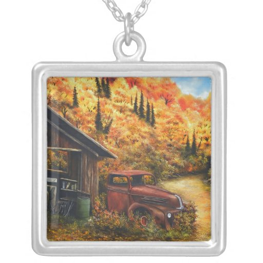 Retired Painting with Square Sterling Silver Neckl Pendants