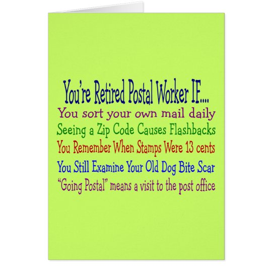 Retired Postal Worker Sayings T-Shirts & Gifts Card