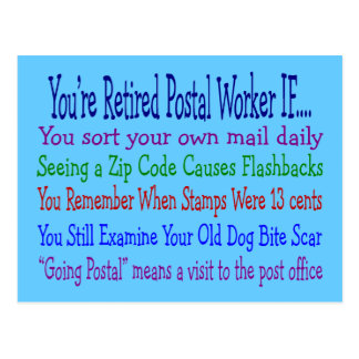 Retired Postal Worker Sayings T-Shirts & Gifts Postcard