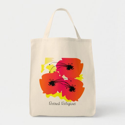 Retired Religious Tote Bag Artsy Tropical Flowers