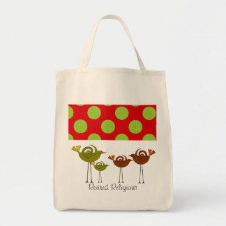 Retired Religious Tote Bag Retro Birds Design