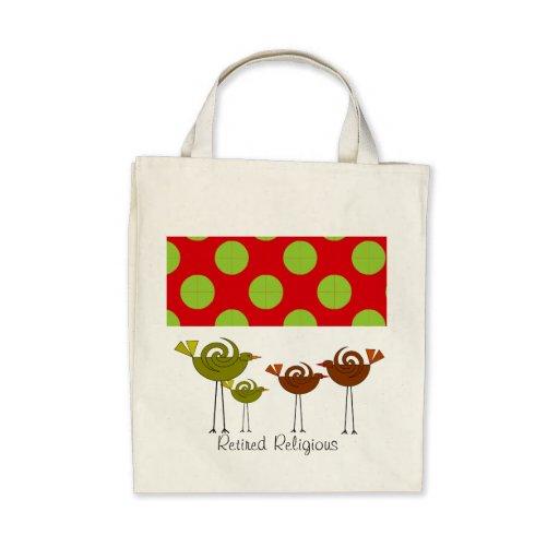Retired Religious Tote Bag Retro Birds Design