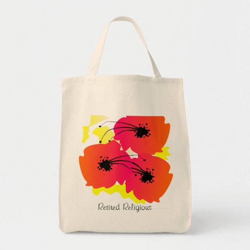Retired Religious Tote Bag Tropical Floral Design