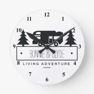 Retired RV | Camping Campers Personalized Names Round Clock