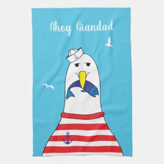 Retired Sailor Ex Mariner Seagull Character Tea Towel
