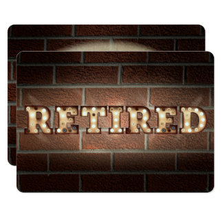 Retired sign in marquee lights on brick card