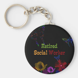 Retired Social Worker, abstract floral design Key Ring