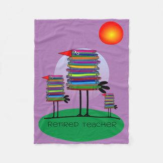 Retired Teacher Fleece Blanket Book Birds Purple
