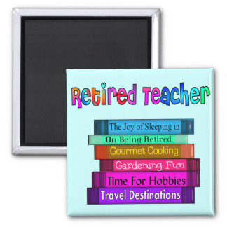 Retired Teacher Gifts Stack of Books Design Square Magnet