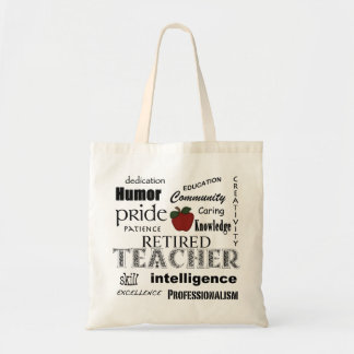 Retired Teacher Pride-Red Apple+Customizable Budget Tote Bag