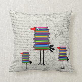 Retired Teacher Whimsical Book Bird  Pillow