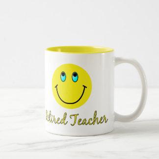 Retired Teacher YELLOW SMILEY Two-Tone Mug
